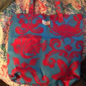 Lilly Pulitzer blue and pink tote bag